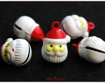 Red and white Santa bells charm x 1