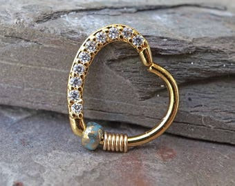 16 Gauge Crystal Gold Daith Rook Heart Hoop Ring Daith Septum Hoop