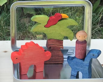 Dinosaur Puzzle Play Set, Pocket Play Set, Waldorf Toys, Stocking Stuffer, Travel Toy, Montessori Materials