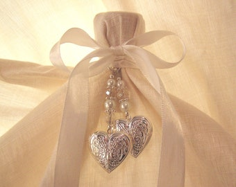 Double Overlapping Heart Lockets - Bridal Bouquet Memory Charm
