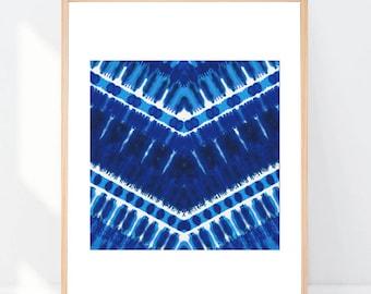 Shibori Inspired Indigo Blue Tribal Boho Print 8x10 or 11x14 with Matting options