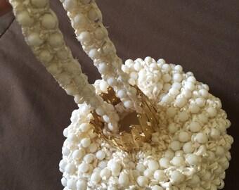 Vintage White Designer Regale Purse Bag