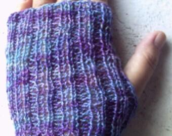 Pair of handknitted merino/silk fingerless mittens