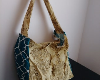 Tan and Teal Market Tote
