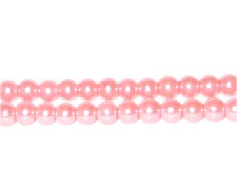 6mm Salmon Glass Pearl Bead, approx. 78 beads