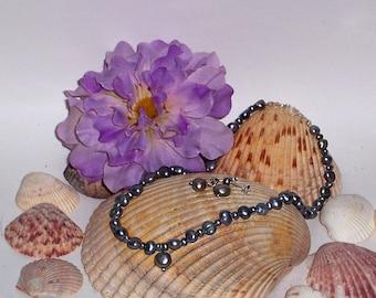 Silver grey pearl necklace set