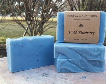 Wild Blueberry, Natural Handmade Soap, Artisan Soap, Exfoliating, Cold Process Soap