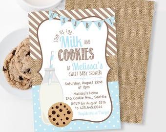 Cookies and Milk Baby Shower Invitation, Chocolate Chip Cookie Invitation, Milk and Cookies Shower, Burlap Invitation