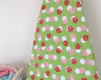 Ironing Board Cover - Green with Red Roses