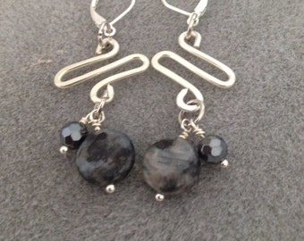 Hand formed and hammered silver plate earrings with Larvikite & crystal dangles