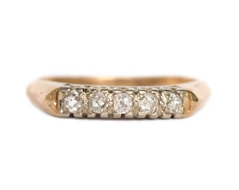 Circa 1910s Edwardian 14K Yellow Gold .15cttw Old Mine Cushion Diamond Wedding Band - VEG#1072