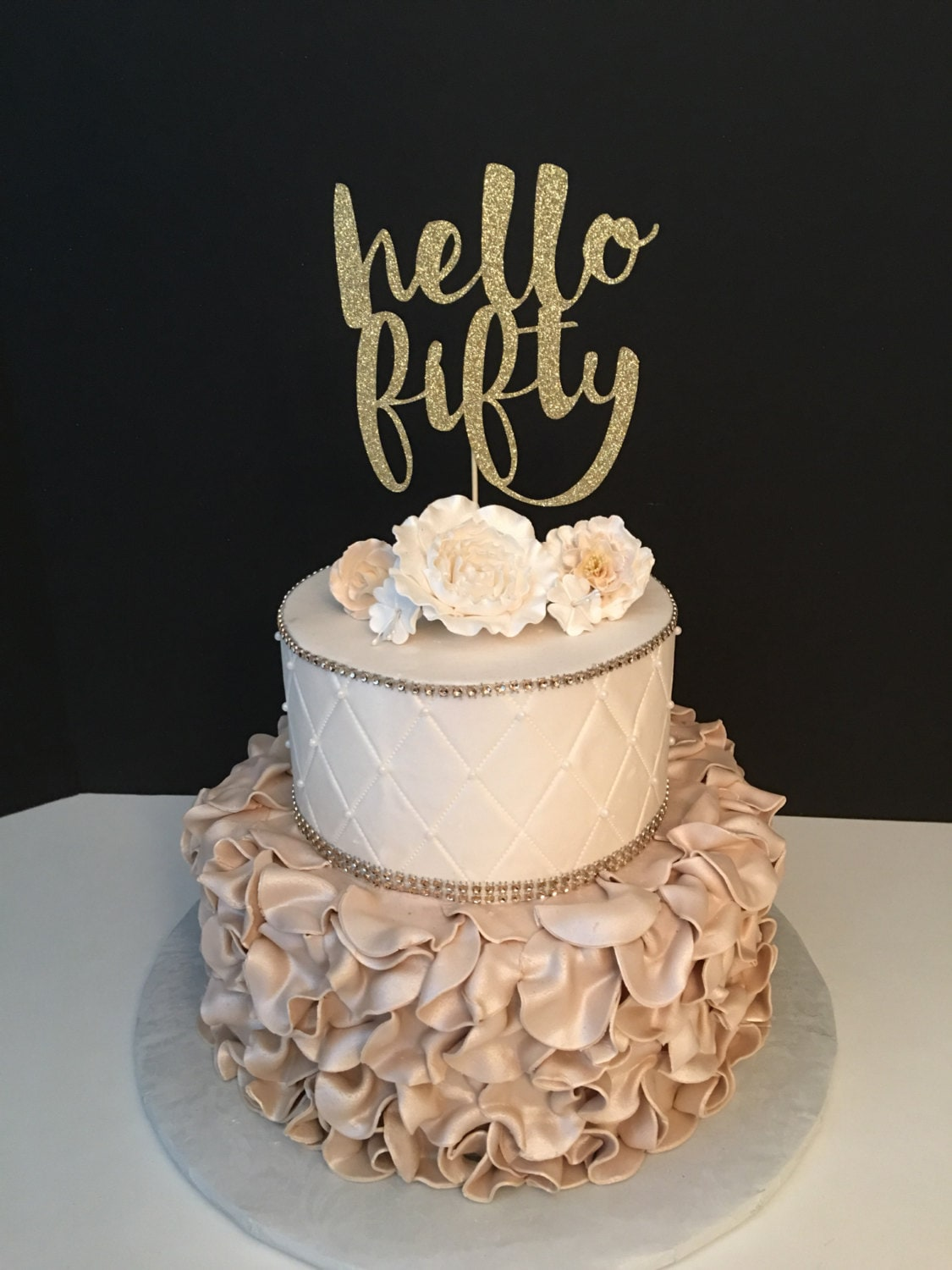 ANY NUMBER hello fifty Cake Topper 50th Birthday Cake