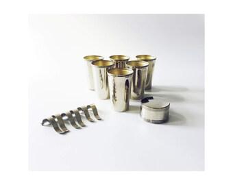 Vintage Metal Travel Mugs / Set of 6
