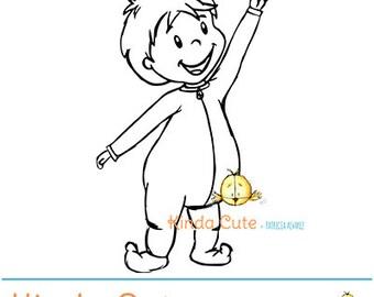Baby pointing Digital Stamp (black/white only).  Birthday. First birthday. Boy digital stamp.