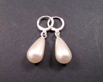 Pearl Earrings, White Faux Pearl and Silver Dangle Earrings, Lever Back Hoop Earrings, FREE Shipping U.S.