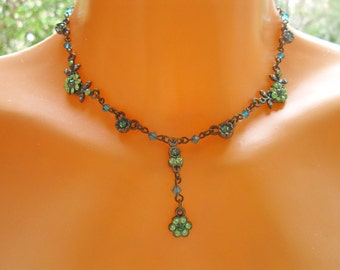 Peridot and Emerald Swarovski crystal, floral bridal pendant, Wedding jewelry, Swarovski beads. Gift for bridesmaids. For everyday.