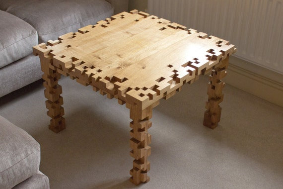 Coffee Table Oak Furniture 8 Bit Pixel Square Living