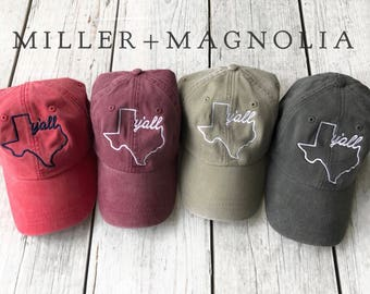 Texas Y'all Ball Cap - Texas Outline Hat - Monogram Cap - Monogram Hat - Monogrammed Cap