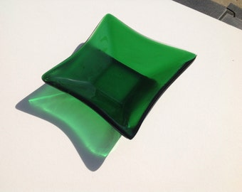 Green Fused Glass Dish