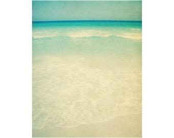 Vintage Beach Art Prints, 11x14 Photography, Vertical Wall Art, Mint Green Decor, Ocean Artwork