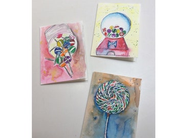 Original Watercolor Greeting Cards - Hand Painted Cards - Handmade Cards - Blank Cards - Sweets Watercolor Note Cards - Set of 3