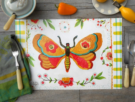 Placemats Lovebirds in the Lilies reversible laminated placemats by Kimberly Hodges, moth placemat, tablemats, lovebird placemats, lovebirds
