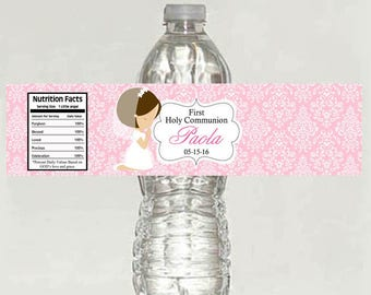 Digital File- Girl First Communion Water Bottle Labels