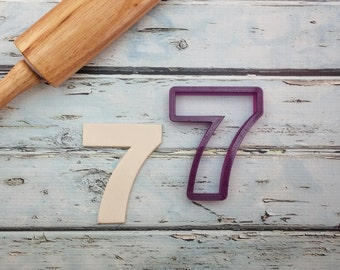 7 Seven Seventh Birthday or Anniversary Number Cookie Cutter or Fondant Cutter and Clay Cutter