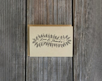 Love and Thanks Card Set, Rustic Thank You Cards, Wedding Thank You Pack