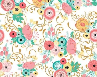 Just Sayin' Fabric Collection by Jen Allyson - My Mind's Eye - Riley Blake - By The Yard - Main Floral Print on White - C
