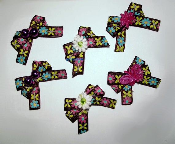 Puppy Bows ~6 brown floral daisy EVERYDAY BOWS Yorkie Maltese Shih Tzu ~Usa seller (fb81)