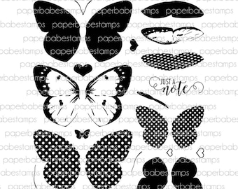 Butterfly Pieridae Stamp Set - Paperbabe Stamps - Clear Photopolymer Stamps - For paper crafting and scrapbooking.