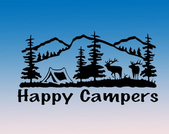 Happy Campers Tent Camping In Forest and Mountains  - car window vinyl decal