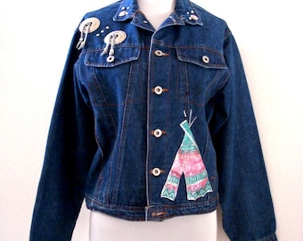 Vintage 80s Southwestern Jean Jacket -  Blue Cotton Denim Painted Jean Jacket with Conchas by Bonjour - Cropped 80s Jacket - Small