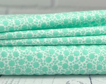 The Good Life Fabric - Aqua Floral Carefree Fabric - Bonnie & Camille - Moda Fabric - Flower Fabric - Aqua Fabric - 55156-11