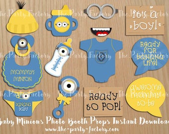 Minions Baby Shower Photo Booth Props Instant Download, Digital File, PDF,  Printables