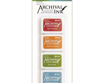 Wendy Vecchi Mini Archival Ink Pad set #4: Red Geranium, Orange Blossom, Fern Green, and Cornflower Blue (AMDK58960) - IP017