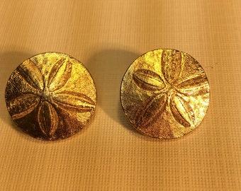 Vintage Trifari Gold Sand Dollar Earrings