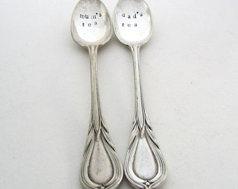 Handstamped Teaspoon Pair, Mum's Tea and Dad's Tea, Hand Stamped Vintage Spoons, Gift for Parents