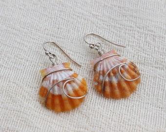 Ocean Wave Wire Wrapped Sunrise Shell Earrings; .925 sterling silver; Seashell; Boho