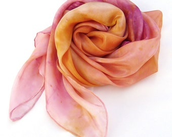 Gift for women hand painted silk scarf made in pink orange ombre silk fabric