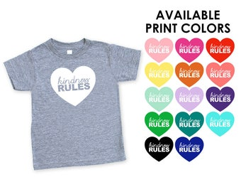 Kindness Rules Triblend TShirt in Heather Grey - Infant and Toddler Sizes - Baby Shower Gift, Peace, Love, Empathy, Expecting, Matching