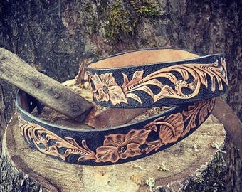 """Sheridan Style Floral Belt - Hand Tooled - Black and Tan - Antiqued - Size 38-41"""""""