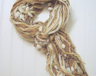 All Fringe Scarf, Tan, Cream, Gold, Fringe Scarf, Art Scarf, Yarn Scarf, Fringe Fashion, Fiber Art Scarf, Knotted Fringe Scarf, Women, Teen