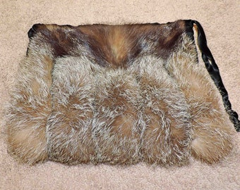 Vintage Fur Muff Hand Warmer Quilted With Inner Pockets