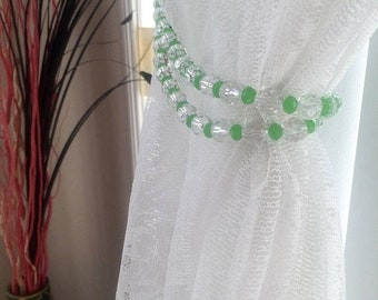 ON SALE Beaded curtain, bead curtain, hanging beads, curtain tie back, curtain tieback,  crystal curtain, holdbacks , housewarming, gift, be
