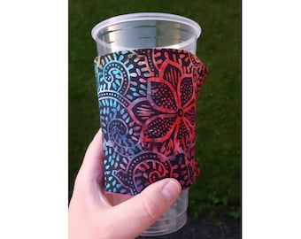 Floral Batik REVERSIBLE Coffee Cozy, Drink Cozy - ONE SIZE fits most!