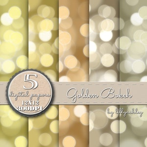 Digital Paper Pack of 5--12x12 JPG-Bokeh Backgrounds Photography printables Invites in Sparkly Gold Shades