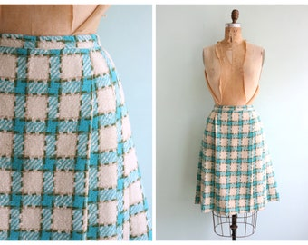 Vintage 1950's Turquoise Plaid Skirt | Size Medium