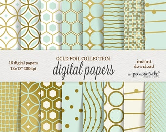 Mint Digital Paper: Gold Foil and Mint/Geometric,Stripes,Chevron,Honeycomb,Circles,Abstract Patterns